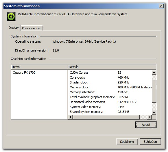 2 GB shared memory? Nvidia Quadro FX 1700 needs 2 GB additional